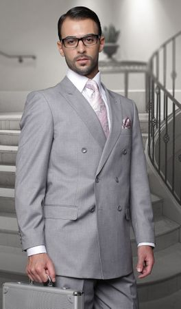 Statement Gray Italian Wool Double Breasted Suits TZD-100