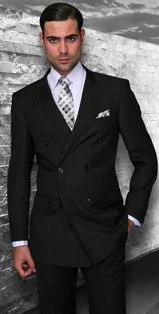 Statement Black Tailored Fit Wool Double Breasted Suits SD-100 Size 40R