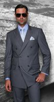 Statement Charcoal Italian Wool Double Breasted Suits SD-100
