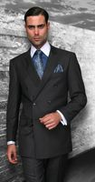 Statement Dark Charcoal Italian Wool Double Breasted Suits SD-100