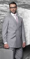 Statement Gray Italian Wool Double Breasted Suits SD-100