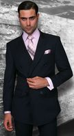 Statement Navy Tailored Fit Wool Double Breasted Suits SD-100