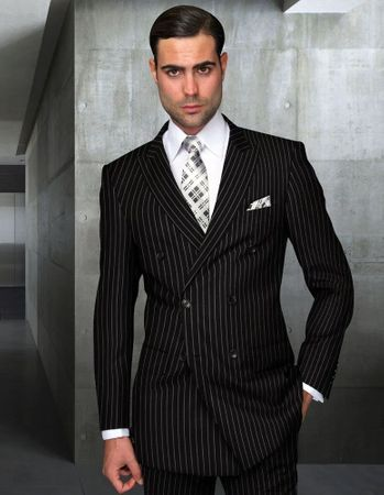 Statement All Wool Double Breasted Suit Black Stripe DB-Zarelli