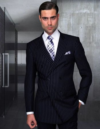 Statement All Wool Navy Stripe Double Breasted Suit Navy Stripe DB-Zarelli