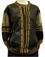 Steven Land Brown Lambskin Leather Front Sweaters SL 213