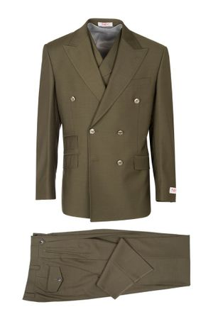 Tiglio Rosso Men's Olive Green Wool Double Breasted Suit Wide Leg EST