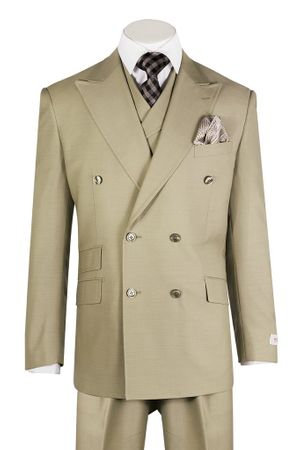 Tiglio Rosso Men's Tan Wool Double Breasted Suit Wide Leg EST1004