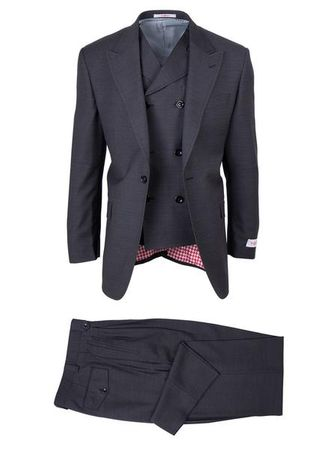 Tiglio Rosso Mens Charcoal Wool Wide Leg Suit San Giovesse TIG1008