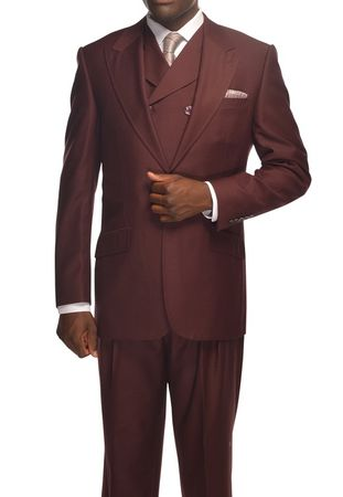 Tiglio Rosso Suit Mens Burgundy Italian Wool Wide Leg OS