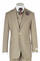 Tiglio Wide Leg Suit Mens Tan Vested Italian Wool 3 Piece San Giovesse