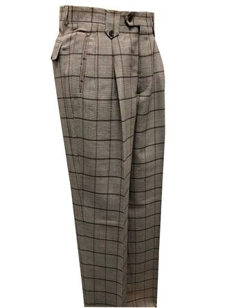 Tiglio Men's Wool Plaid Wide Leg Pants Tan Cognac TLS20053/1 - click to enlarge