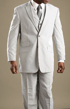 Tony Blake Black Stripe Seersucker Suit 3 Piece HF242 IS