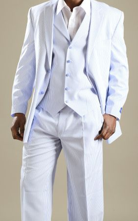 Tony Blake Blue Stripe Seersucker Suit 3 Piece HF242 IS