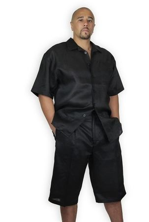 Trust Mens Black Linen Short Set  Knee Length L622