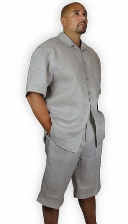 Trust Mens Gray Linen Short Set Knee Length L622 - click to enlarge