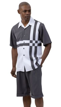 Montique Short Set Men's Gray White Block Pattern 7078 Size M,L