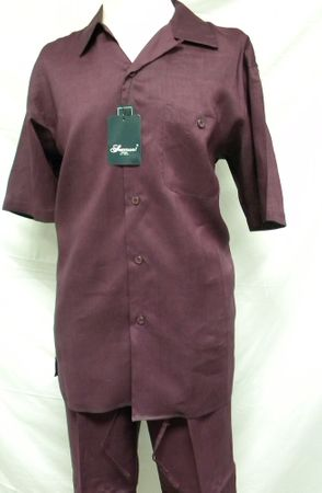 Successo Mens Purple Short Sleeve Linen Sets 1065 Size M/33