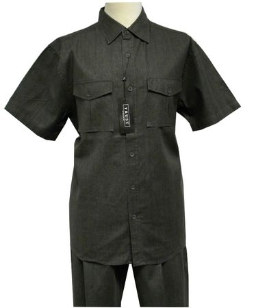 Trust Mens Charcoal Black Heather Linen 2 Piece Walking Suit LC 010SP - click to enlarge