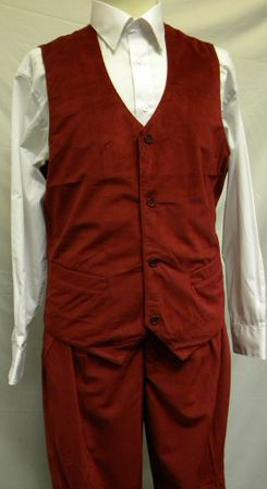 Trust Mens Cranberry Red Velvet Vest And Pants Set VV1234