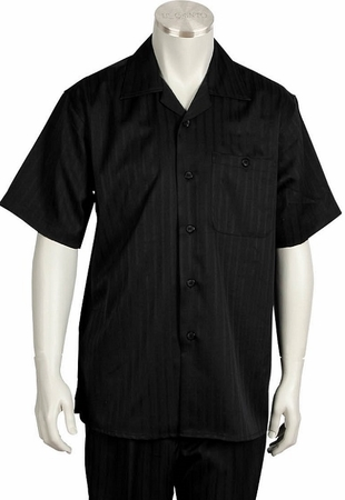 Canto Leisure Suit Mens Black Stripe Short Sleeve Walking Set 696 Size Large/36 Waist Final Sale - click to enlarge