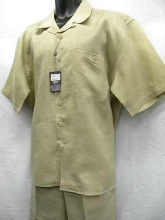 Trust Mens Khaki Linen Walking Suit Short Sleeve L601SP