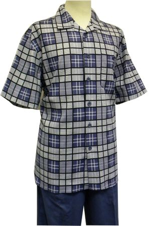 Mens Blue Plaid Linen Rayon Walking Suit Cellangino LN1604 Size 3XL, 4XL