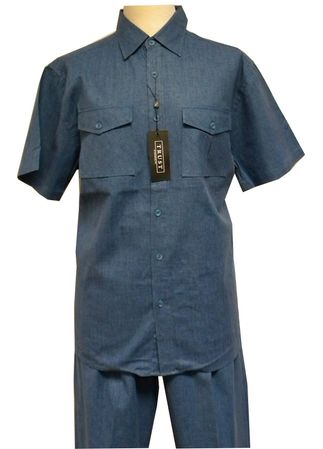 Trust Mens Teal Blue Heather Linen 2 Piece Walking Suit