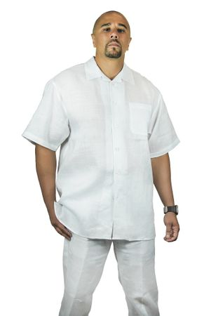 Trust Mens All White Linen Walking Suits Outfit L601SP