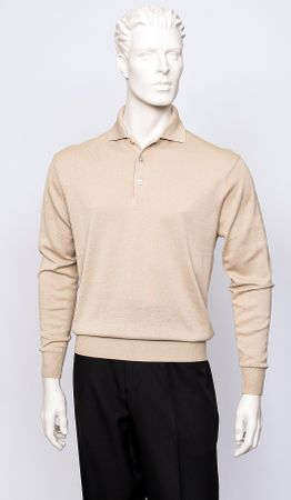 Tulliano Mens Biscuit Tan Silk Polo Sweater Luxurious Knitwear Marc 8517