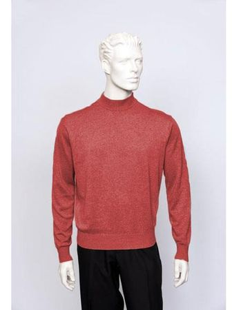 Tulliano Mens Coral Silk Mock Neck Sweater Shirt Brighton 8516 - click to enlarge