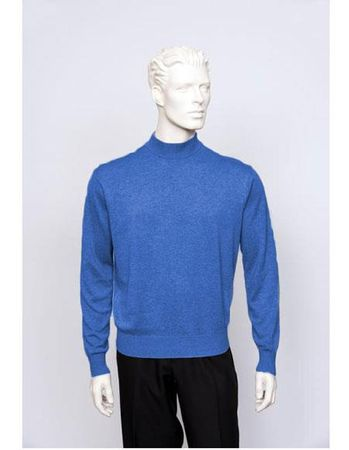 Tulliano Mens Denim Blue Silk Mock Neck Sweater Fine Knitwear Brighton 8516 - click to enlarge