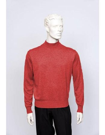 Tulliano Mens Flame Red Silk Mock Neck Sweater Fine Knitwear Brighton 8516 - click to enlarge