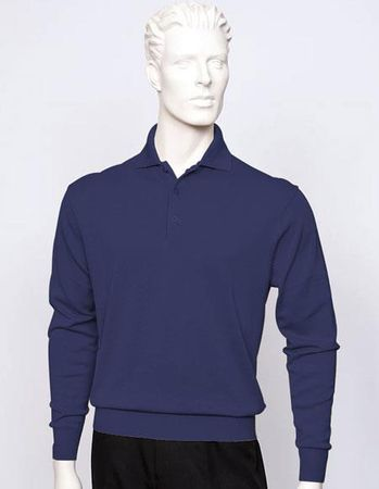 Tulliano Mens Navy Blue Silk Polo Sweater Fine Gauge Knit Marc 8517 - click to enlarge