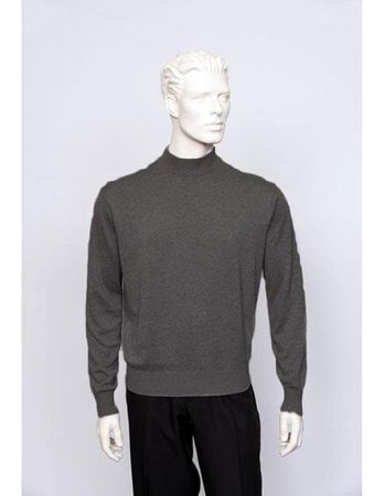 Tulliano Mens Silk Mock Neck Sweater Smoke Gray Fine Gauge Knit Brighton 8516 - click to enlarge