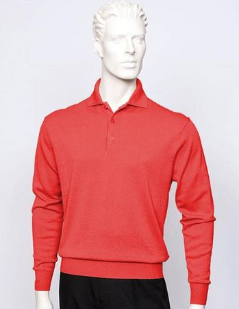 Tulliano Mens Silk Polo Sweater Red Fine Knitwear Marc 8517 - click to enlarge