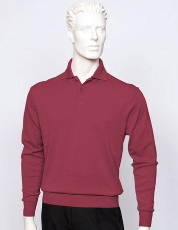 Tulliano Mens Silk Polo Sweater Wine Fine Gauge Knit Marc 8517 - click to enlarge