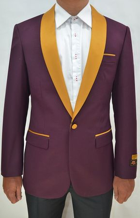 Tuxedo Jacket Mens Burgundy/Gold Collar Blazer Alberto Dinner-Jacket