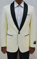 Tuxedo Jacket Mens Ivory/Black Collar Blazer Alberto Dinner-Jacket