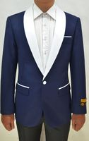 Tuxedo Jacket Mens Navy/White Collar Blazer Alberto Dinner-Jacket