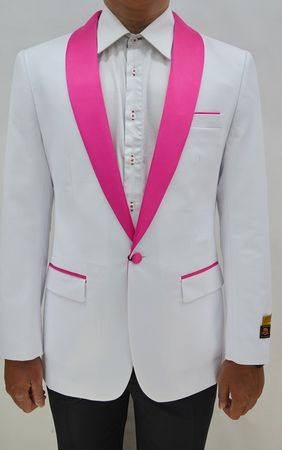 Tuxedo Jacket Mens White/Fuchsia Collar Blazer Alberto Dinner-Jacket