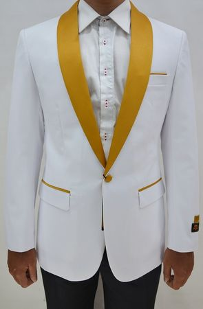 Tuxedo Jacket Mens White Gold Collar Blazer Alberto Dinner-Jacket