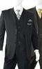 3 Button Fine Wool Black Pinstripe Three Piece Suit Alberto 3BVP-1
