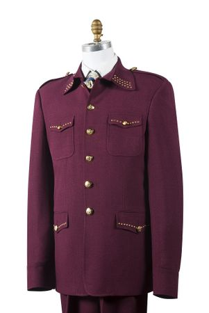Canto Mens Burgundy Wine Nailshead Military Pocket Suit 8392