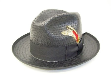 Untouchable Mens Black Straw Fedora Dress Hat 8831