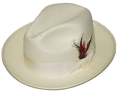 Untouchable Mens Off White Straw Fedora Dress Hat 8831