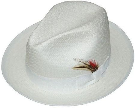 Untouchable Mens White Straw Fedora Dress Hat 8831