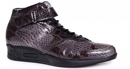 Mauri Italy Mens Charcoal Patent Leather Snake Print Ankle Strap Sneakers M764 - click to enlarge