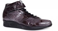 Mauri Italy Mens Charcoal Patent Leather Snake Print Ankle Strap Sneakers M764