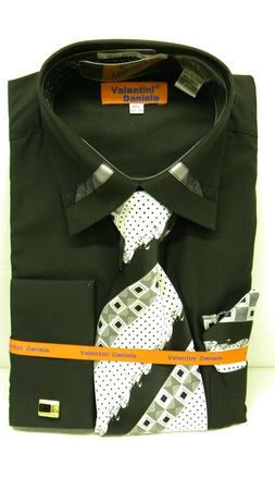 Valentini Mens Black Trim Collar French Cuff Shirt and Tie Set YS1103