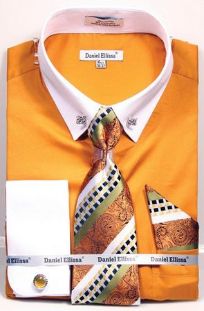 DE Men's Mustard with White Collar Bar Dress Shirt Tie Set DS3790P2 - click to enlarge